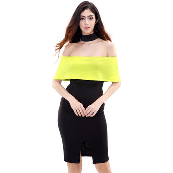 Neon Green and Black Color Block Party Dress