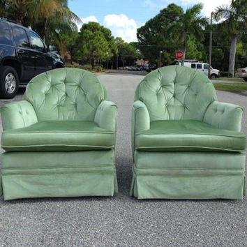 PAIR Vintage Tufted Green Swivel Chairs Velvet Hollywood Regency Retro