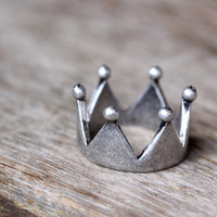 Simple Crown Ring Retro Silver tone Prince Princess Ring Tiara Womens Jewelry Gold Silver gift idea