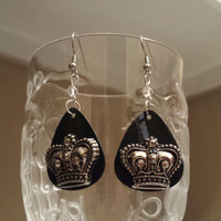 Guitar Picks Earrings - Betsy's Jewelry - Crowns - Royalty - Fashion Earrings - Upcycled