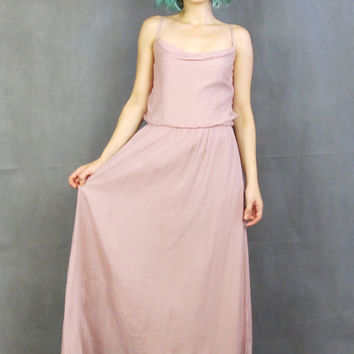 8280829dfa 70s Dusty Pink Evening Gown Goddess Bridesmaid Dress Disco Greci