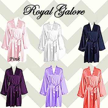SATIN Bridal Robes Silk Bridesmaid Robe Gift Shower Personalized set of 3 set of 4 purple Pink Navy ~ Purple coral
