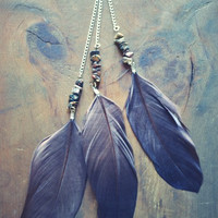 Gypsy Stone Long Feather Earring