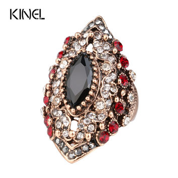 2017 New Antique Rings For Women Vintage Jewelry Color Gold Crystal Resin Anel Aneis Horse Eye Party Ring