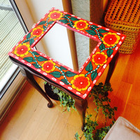 Handpainted mirror frame , madhubani , janakpuri, handpainted indian décor , indian handicraft , home decor , indian art , statement