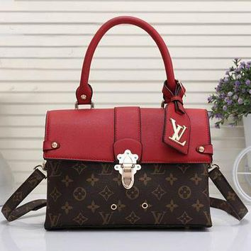 LV Louis Vuitton Fashionable Women Leather Square Backpack Bookbag Daypack Satchel Coffee LV Pattern+Red I