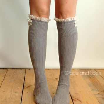 The Milly Lace - Platinum GREY Cable knit boot socks w/ cream lace ruffle & ivory buttons - knee high socks legwarmers lace socks with lace