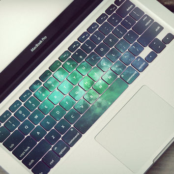 Macbook Keyboard Sticker Skin Galaxy Green Space Stars Universe Celestial Dark Blue Tastatur Skin Sticker Vinyl Decal Keyboard Cover