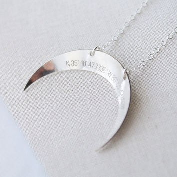 Custom Coordinates Crescent Moon Necklace - engraved gps, silver, gold, rose gold - 1377