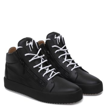 Giuseppe Zanotti Gz Kriss Black Calfskin Leather Mid-top Sneaker