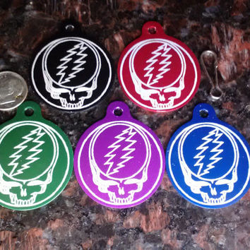 "2 Sided Grateful Dead 1.5""  SYF & You decide Back *Laser Engraved Anodized Aluminum Dog Tag"