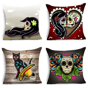 Homing Paisley Dog Cat Skull Polyester Cushion Cover Animal Plant Flower Colorful Home Decorative Pillow Cover for Sofa Car