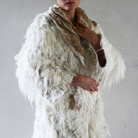 White and golden felt coat fur free kimono by vilte OOAK