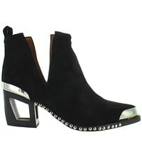 Jeffrey Campbell Optimum - Black Suede Studded Fancy Western Bootie