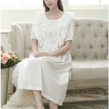 CREYHY3 TITIVATE Women Long Sleepwear Pure Princess Nightgown Sleeping Beauty Nightwear Ladies Home Wear Vintage Strap Lace Knit Dresses