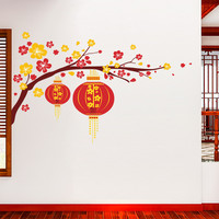 Chinese Flower Lantern Plum Branch Happy New Year Wall Sticker Decal Art Living room wall stickers home decor decal decoration