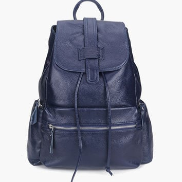 Medium Size Ladies Navy Leather Backpack. Genuine Leather Dark Blue Travel Bag School Bag. MADE-TO-ORDER