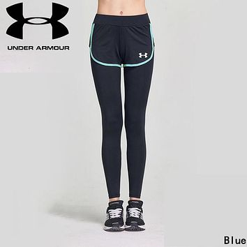 """Under Armour"" Newest Popular Women Casual Sport Stretch Pants Fake Two Piece Yoga Trousers Sweatpants Blue"