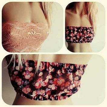 Lace Bandeau Top, Lace and Floral Fabric Combination, Beach top, Peach Lace, Top Fashion, Women Accessories, Gift for Women