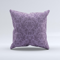Dark Purple Delicate Pattern Ink-Fuzed Decorative Throw Pillow