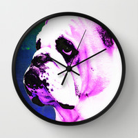Pink Bulldog Dog Pet Pop Art by Sharon Cummings Wall Clock by Sharon Cummings