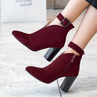 Pointed Toe Medium Thick Heels Ankle Boots.