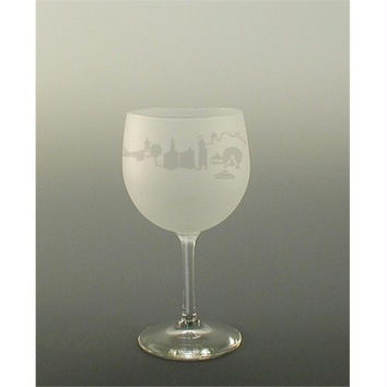 4 Etched Short Wine Glasses - Sandblasted