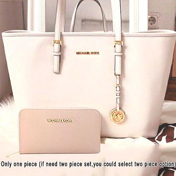 MK tide brand female personality versatile shopping bag shoulder bag two-piece white