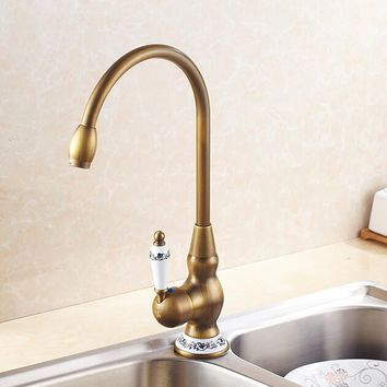 Classic Kitchen faucet Free shipping Contemporary Swivel Faucet Antique bronze finish Brass Basin Sink Single Handle taps 5480