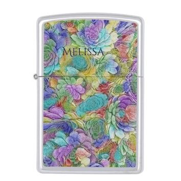 Colorful Succulents Add Your Name Personal Zippo Lighter