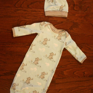 Elephant baby gown with hat, 3 months, elephant outfit