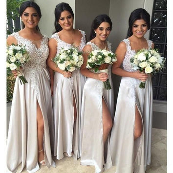 New Arrival Lace Appliques Long Bridesmaid Dresses  2016 Vestido De Festa Elegant Floor Length Cheap Prom Gowns