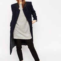 ASOS Coat in Pinstripe with Stand Collar