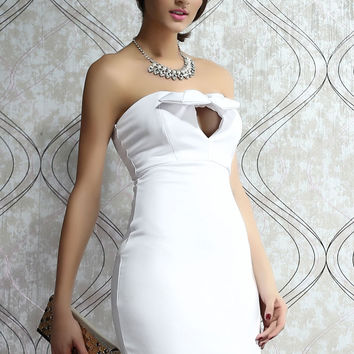 White Strapless Evening Dress with Knotted Bow