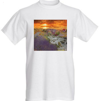 Art Tshirt Impressionist art england countryside small medium large extra large 2xl tshirt sunset