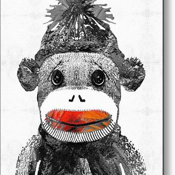 Sock Monkey Art In Black White And Red - By Sharon Cummings Metal Print
