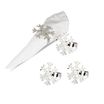 Snowflake Silver Plated Napkin Rings - Set of 4