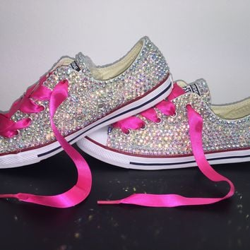 All Star Chuck Taylor Converse Bedazzled In AB Crystal Hot Pink Laces