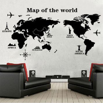 Large World Map Wall Sticker Decal-Big Vinyl Wall Stickers-Home Decor Living Room Removable 3D Art Quotes Poster