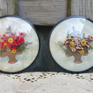 Victorian Style Vintage Dried Flower Basket  Round Convex Glass Picture Pair