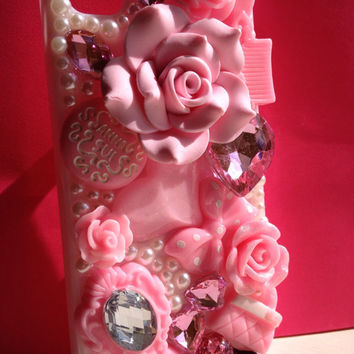 3D Luxury Bling Pearl Rose Flower Diamond Rhinestone Anna Sui Hard Back Case Cover for iPhone 4 4S