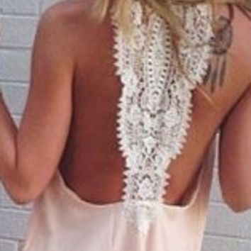 Lace Chiffon Sleeveless Dress