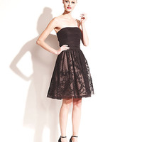 STRAPLESS ILLUSION PARTY DRESS BLACK