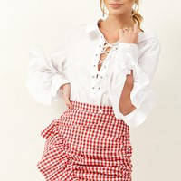 Gemma Check Ruffle MIni Skirt Discover the latest fashion trends online at storets.com