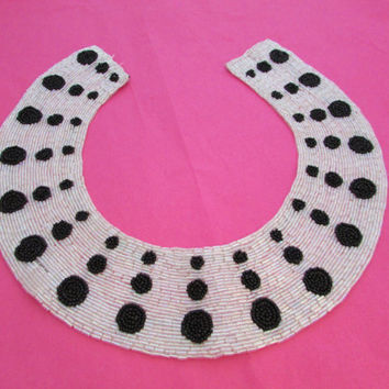 Black White Polka Dot Beaded Bib Necklace Vintage Trim Fashion Jewelry Gifts for Her