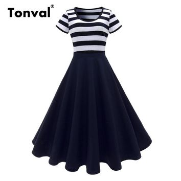 Tonval Women Navy Blue Striped Dress 2018 Short Sleeve O-Neck Summer Casual Dress Vintage Style Midi Swing Dress
