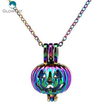 C389 COLORS Halloween Pumpkin Stainless Kids Party Necklace Pendant Aroma Essential Oil Diffuser Locket Necklace