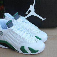Air Jordan 14 Retro AJ14 White/Green Sport Shoe