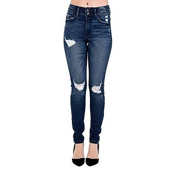 Kan Can Women's High Rise Destroyed Skinny Jeans KC6095