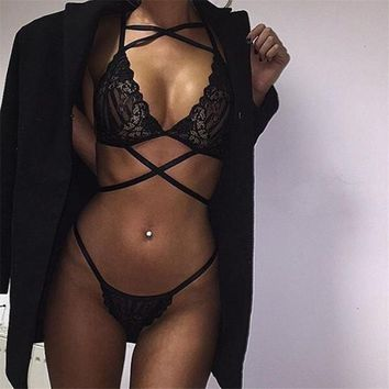 CDJLFH Women Sexy Lace Night Across Lingerie Brief Set Nightgown Solid Color Lace Sleepwear For Women Camisola Sexy Lingerie